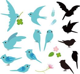 青い小鳥とシルエット