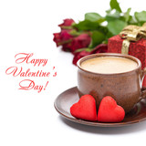 cup of black coffee, candy, gift and roses for Valentine's Day