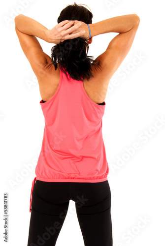 rear view portrait of attractive female fitness model