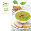 spinach soup with croutons, isolated