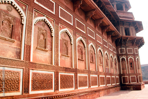 Carving stone wall of Agra Fort India