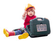 baby in hardhat with working tools