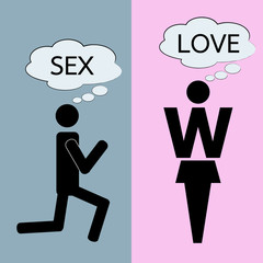 man and woman thinking about love and sex