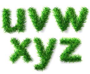 Vector grass alphabet