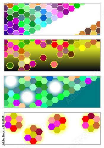 set of modern bright banners with hexagons
