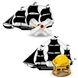 nautic pirate ship with marine supplies scroll and globe