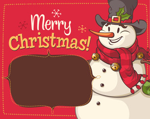 Christmas snowman character. Vector illustration.