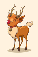 Christmas reindeer character. Vector illustration.