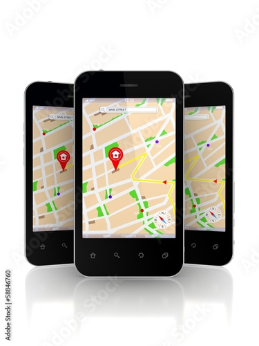 Mobile phones with GPS navigator on screen.