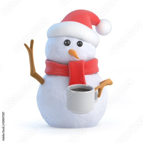Santa snowman in the cafe drinking