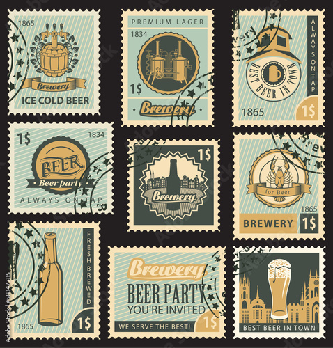 set of postal stamps on theme of beer and brewery
