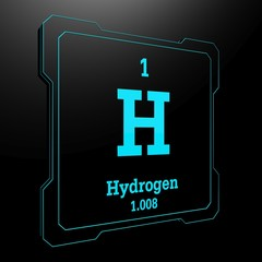 Hydrogen - element from periodic table on black button