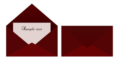 Red envelope with blank card for text writing
