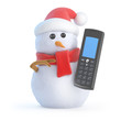 Santa snowman with a mobile phone