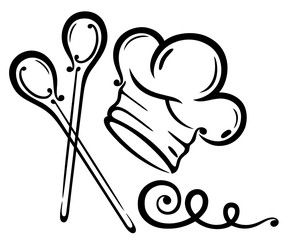 Koch, kochen, Kochmütze, Kochlöffel