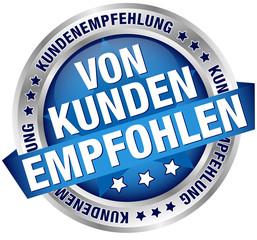 """Button Banner """"Von Kunden empfohlen"""" blau"""