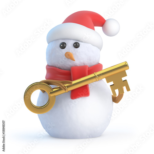 Santa snowman with gold key