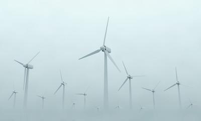 Modern Wind Turbines on Dense Fog