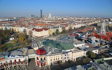 Skyline und Prater in Wien