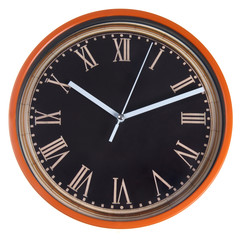 orange wall round clocks isolated on white