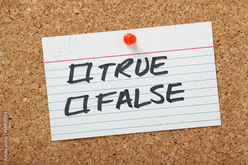 True or False Tick Boxes