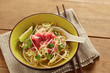 Beef meat rice noodle pho soup