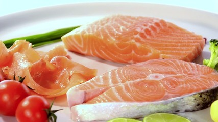 raw salmon slices with vegetables