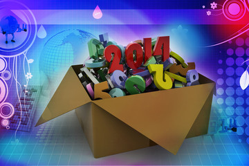2014 in a box. 3d illustrations