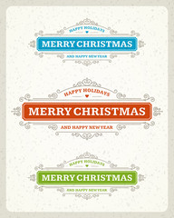 Merry Christmas postcard ornament decoration design element
