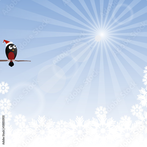 Winter background with rays and bullfinch
