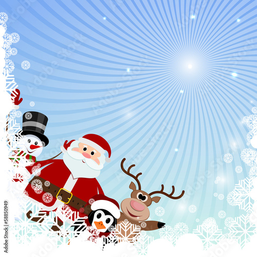 Winter background with snowflakes and Christmas characters