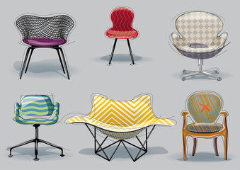 Chair set. Vector sketch style