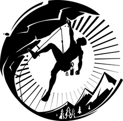 Rock climber at sunset. Vector illustration