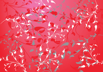 red abstract background with branches and leaves