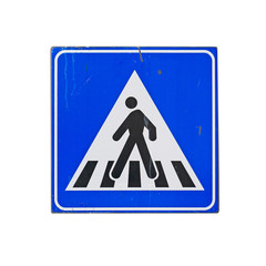 crossing sign on white