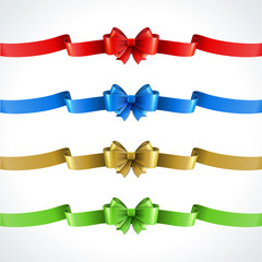 Gift bow and ribbon set. Vector illustration