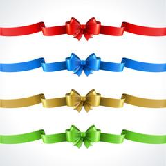 Gift bow and ribbon set. Vector illustration