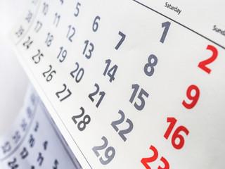 Closeup a calendar page