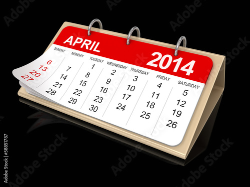 Calendar -  April 2014  (clipping path included)