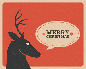 Merry Christmas postcard with deer background