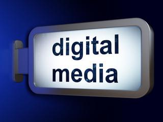 Marketing concept: Digital Media on billboard background