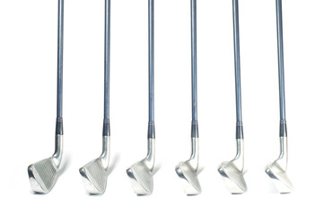 Set of iron golf club isolated.