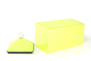 Yellow plastic container box isolated.