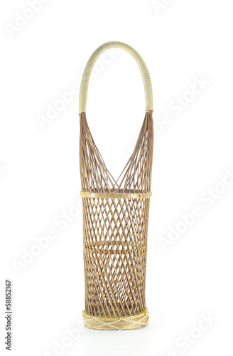 Wine bottle rattan basket isolated.