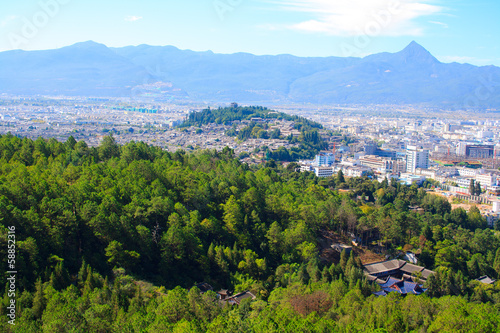 The Old Town Lijiang from above. Yunnan. China.