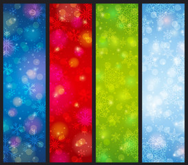 brightness color christmas banners, vector