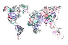 Carte du monde tampons de passeport, isolé