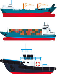 cargo Vessels and tugboat