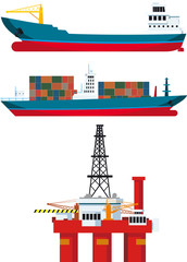 cargo ships and oil platform
