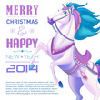 Horse on background, symbol of New Year 2014.
